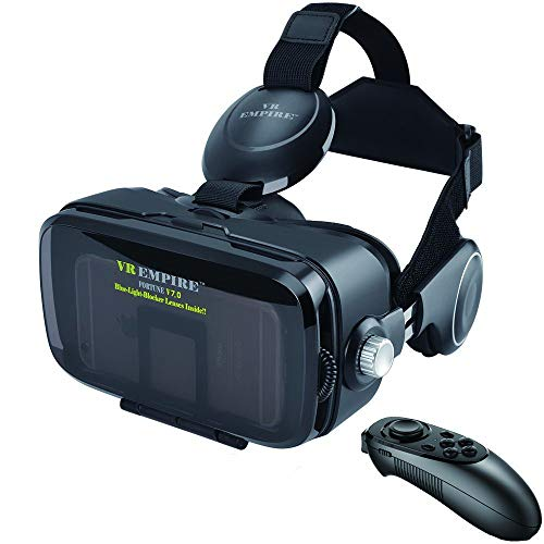 Fortune Mobile VR Headset with Headphones & Remote Controller for iPhones & Samsung HTC HP LG etc Android Phones Whose Length Below 6.3 Inches. Equipped with 120° Largest FOV & Anti-Blue-Light Lenses