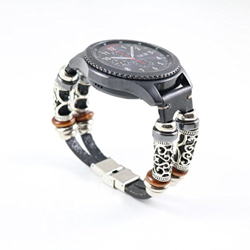 For Samsung Gear S3 Watch Strap,Retro Leather Wristband Band Bracelet Quick Replacement Watchband (Black)