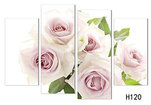Sykdybz レストランは、リビングルームの素晴らしい絵画の 4 つのピンクのバラは、壁の絵画の芸術のオフ B07BVSM49M