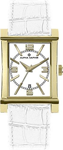 Alpha Saphir 295D - Reloj analógico unisex de cuarzo con correa de piel blanca - sumergible a 30 metros