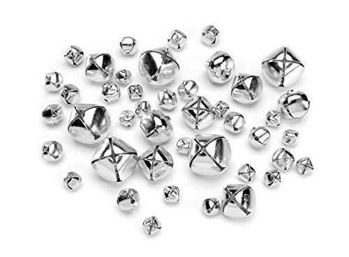 Darice 129-Piece Big Value Assorted Size Jingle Bells, Silver by Darice