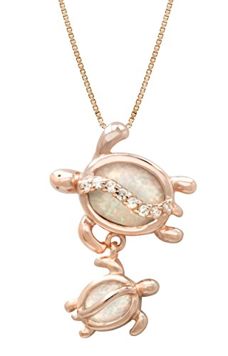 Rose Gold Plated Sterling Silver Mom and Baby Turtle CZ Pendant with Simulated White Opal 18 Box Chain