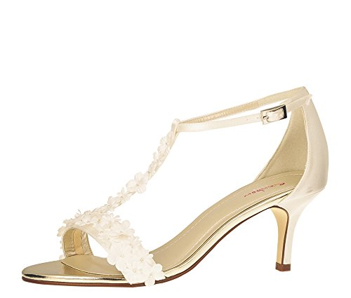 Satin Ivory Rainbow Scarpe Avorio Col Flowers Club Donna Mirabelle Creme Tacco t11qTBwH