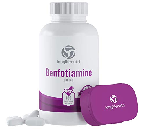 Benfotiamine 300mg 180 Vegetarian Capsules | Fat-Soluble Vitamin B1 Thiamine Powder Supplement | Promotes Healhty Blood Sugar Level | Supports Circulation & Nervous System | Mega Benfo Thiamin Complex