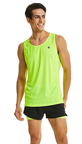 (Leevy Tank Tops for Men Ultra Lightweight Running Tank Dry Fit Sleeveless Shirt(US Large=Tag 3XL Yellow))