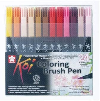 Sakura KOI Coloring Brush Set 24 - Pack de 24 rotuladores, Punta Pincel: Amazon.es: Oficina y papelería
