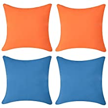 Andreannie Pack of 4 Outdoor Waterproof Soft Delicate Decorative Throw Pillow Cover Cushion Case for Garden Tent Park Farmhouse Polyester Both Sides Square 18 x 18 inches (Set of 4 A)