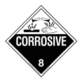 Labelmaster Z-PVR Corrosive Hazmat Placard, Worded, Permanent Vinyl (Pack of 25)