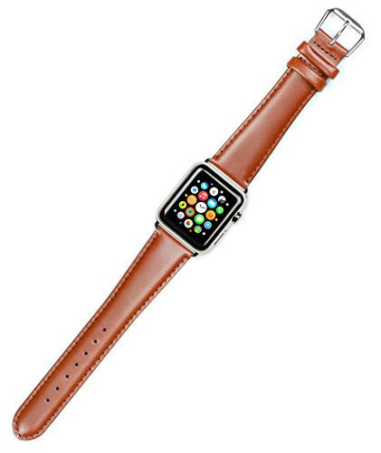 Debeer Replacement Watch Strap - Stage Coach Leather - Havana - Fits 38mm Apple Watch [Silver Adapters]