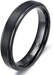 TIGRADE 4mm 6mm 8mm Black Titanium Rings Wedding Band Matte Comfort Fit for Men Women