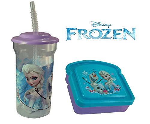 Disney Frozen Kids 2 Piece Reusable Lunch Container Set - Sports Tumbler and Sandwich Box