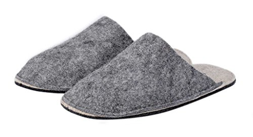 Le Clare Boiled Wool Slippers for Men - Grey and Beige YdVY47BH