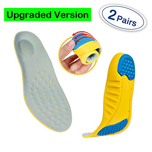 Professional Sports Insoles (2 Pairs) Sports Shock Absorption Shoes Insoles Plantar Fasciitis Orthotic Heel Pain Relief Memory Foam Inserts (S: Men's 2-5 / Women's 4-5.5 / Kids 1.5-4) (Best Shoe Insoles For Heel Pain)
