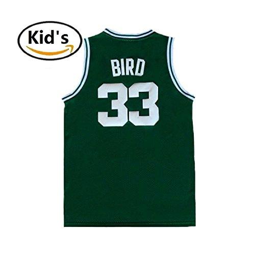 maodege Youth Larry Jerseys Boston 33 Kid's Basketball Jersey Bird Boy's Jerseys Green (L)