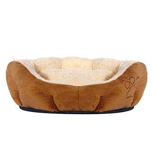(CWCWXQG Cat Bed,Puppies Round Dimple Nesting Dog Cave Bed Pet Bed Machine Washable Plush Padded Soft Comfy Coffee Brown,S )