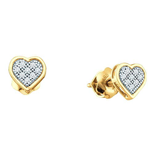 Shaped Diamond Round Heart Earrings - The Diamond Deal Yellow-tone Sterling Silver Womens Round Diamond Heart Screwback Earrings 1/20 Cttw