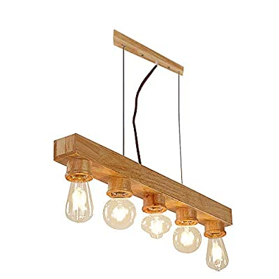 BAYCHEER HL443691 Industrial Style Creative Real Wood Island Lighting Chandeliers Pendant Light Hanging Lights Celling Lamp Fixture for Indoor Restaurant Bar use 5 E26 Bulbs