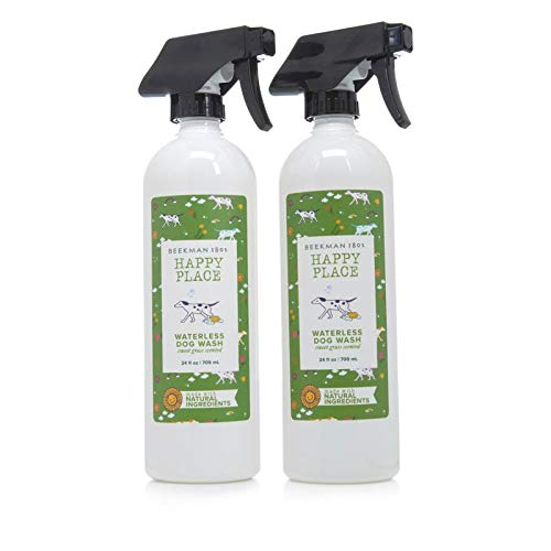 (Beekman 1802 Happy Place Waterless Shampoo for Dogs 2-Pack - Sweet Grass Scent)