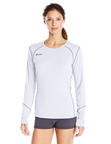 ASICS Women's Volleycross Quick-Dry Long Sleeve Top, White/Steel Grey, ()
