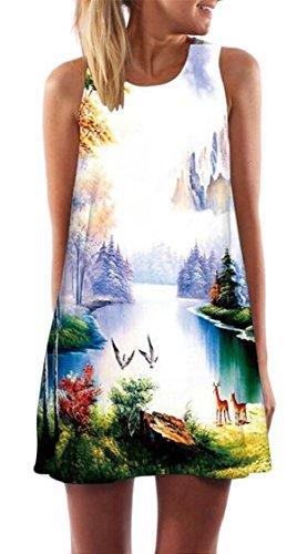 Sportiva Sleeveless Jaycargogo O Digitale Donna Maglietta collo Stampato Vestito 20 Allentato qfaxC5awS