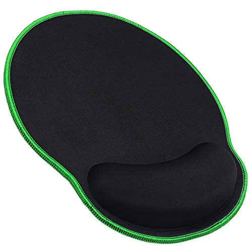 Meffort Inc Mouse Pad with Wrist Rest Support & Stitched Edges, Durable Ergonomic Gaming Mousepad - Black with Green Edges