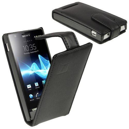 iGadgitz Black Leather Case Cover Holder for Sony Xperia U ST25i Android Smartphone Cell Phone + Screen ()