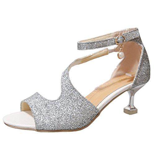 87bcf010defbe9 AIYOUMEI Damen Glitzer Knöchelriemchen Peep Toe Kleinem Absatz Sandalen mit  5cm Absatz Kitten Heel Sommer Schuhe