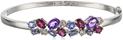Sterling Silver Amethyst, Rhodolite, Iolite, Tanzanite and Morganite Bangle Bracelet by Amazon Collection