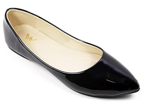 Leather Flat Walstar Pattern Comfortable Pumps Shoes Black Toe Point Women's 7W6O8vnp
