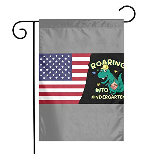 American Roaring INTO Kindergarten Printed Outdoor/Indoor Garden Flag Gift Garden Flag 12