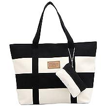 Cozy Age Womens Canvas Chic Color Blocking Shoulder Handbag Beach Bag,One Size,Black