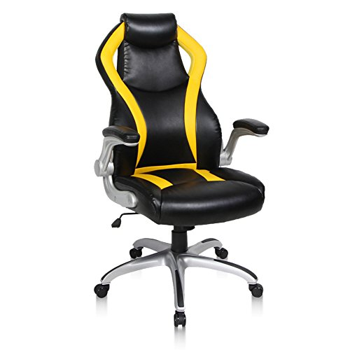PTO Furniture Gaming Chair Racing Chair Flip Up Armrests Ergonomic Computer  Chair Bonded Leather High