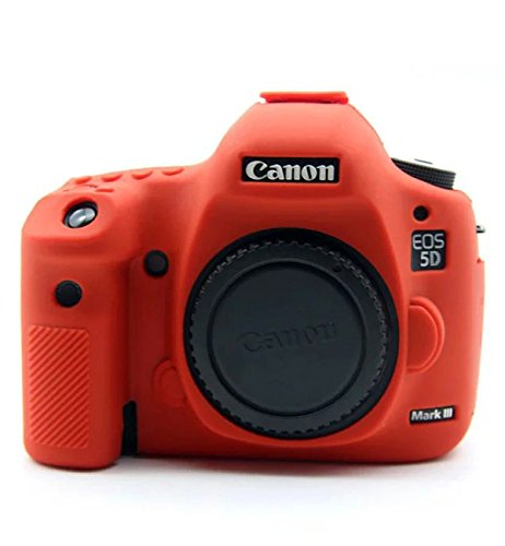 CEARI Professional Silicone Camera Case Rubber Housing Protective Cover for Canon EOS 5D Mark III, 5DS, 5DSR Digital SLR Camera - Red