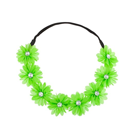 Lux Stretch Fit Floral Headband Head Crown Flower Crown Head Piece Neon Green