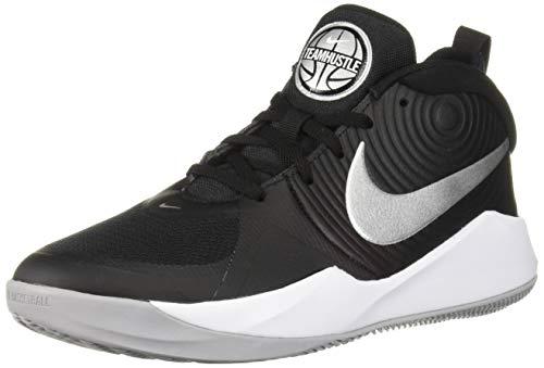 Nike Unisex Team Hustle D 9 (GS) Sneaker, Black/Metallic Silver-Wolf Grey, 4Y Regular US Big Kid