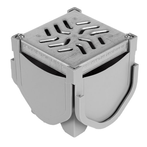 iveway Channel Drain Quad Connector with Galvanized Steel Grate (Drain Quad)
