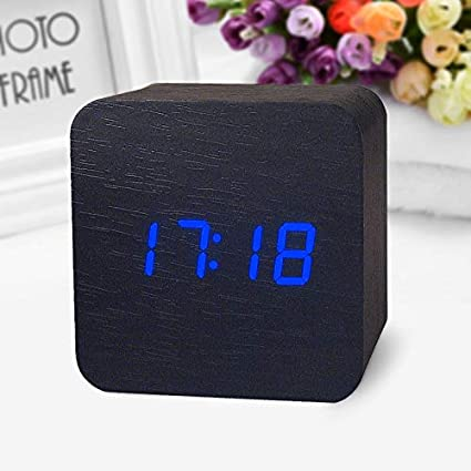 Alarm Clocks for Bedrooms - Wooden Digital LED Desk Alarm Clock Acoustic Control Sensing Clock Desktop