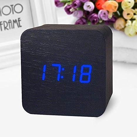 Amazon.com: Alarm Clocks for Bedrooms - Wooden Digital LED Desk Alarm Clock Acoustic Control Sensing Clock Desktop Clock Electronic Digital Clock reloj ...