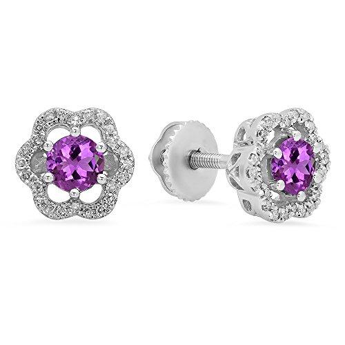 Dazzlingrock Collection 10K 4.2 MM Gemstone Ladies Flower Shape Cluster Fashion Stud Earrings, White Gold