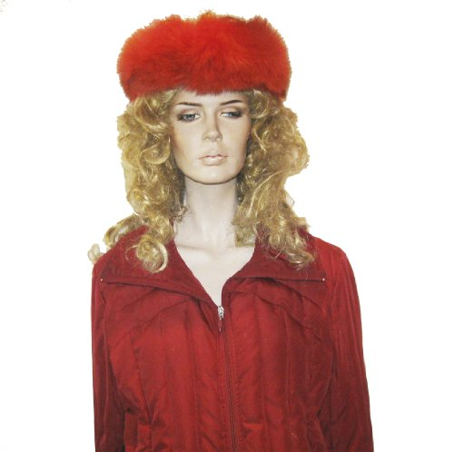 SCARVES- FOX-FUR HEADBAND FROM CASHMERE PASHMINA GROUP (RED) (Headband Red Fox Fur)