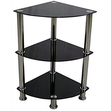 Urban Designs Black Glass Bookshelf Corner Unit