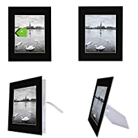 Golden State Art, Pack of 10 Black 11x14 Self-assemble Photo Mat for 8x10 picture with backing board pre-gummed W/ Easel Display Stand, Includes 10 clear bags