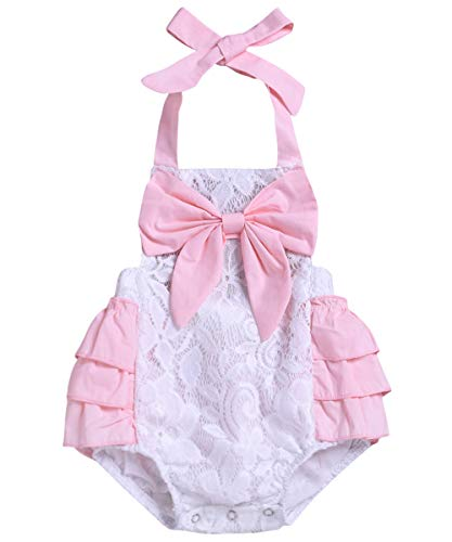 Infant Toddler Newborn Baby Girl's Romper Ruffles Lace Cotton Outfit Summer Clothes Set (Pink Ruffles White Lace, 6-12 Months) (Pink Baby Lace Romper)
