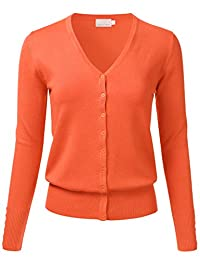 FLORIA Women's Button Down V-Neck Long Sleeve Soft Knit Cardigan Sweater (S-3XL)