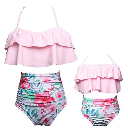 Girls Swimsuits for Women High Waisted Bathing Suit Family Matching Swimsuit Mommy and Daughter Swimwear Bikini Sets (Daughter 9-10 Years, Pink)