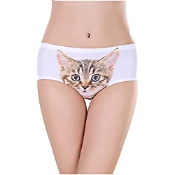 Girls Traceless Cat Briefs Seamless Sexy Pussycat Panties Knickers Hipster (M, 001)