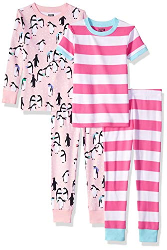 (Spotted Zebra Little Kids' 4-Piece Snug-Fit Cotton Pajama Set, Holiday Penguins, Small)