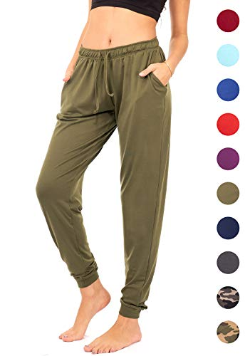 DEAR SPARKLE Jogger with Pockets for Women Drawstring Lightweight Sweats Yoga Lounge Pants + Plus Size (P7) (Olive, Large)