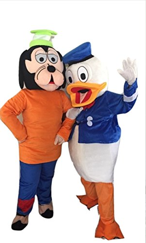 Donald Duck & Goofy Dog Characters Costume Mascot Adult Size For Birthday Boy or Girl Birthday Party Event (Goofy Character Halloween Costume)