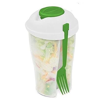 Ensaladera de plástico con tapa. Fiambrera ideal para el trabajo. Ensalada no pierde sus
